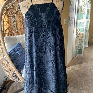 Francesca's Velvet Burnout Halter Dress